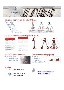 Leták - Oceľové laná a háky