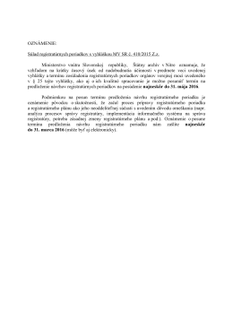 Súlad registratúrnych poriadkov s vyhláškou MV SR č. 410/2015 Zz