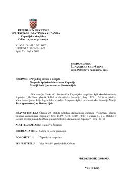 2.Prijedlog odluke o dodjeli Nagrade SDZ Mariji Jović