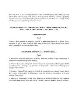 Prijedlog pravila za formiranje radnih grupa