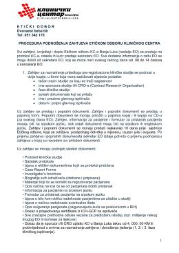 procedura podnošenja zahteva etičkom komitetu kc-a - kc