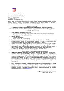 Informacija - zahtjev za prethodnu ocjenu - Brodsko