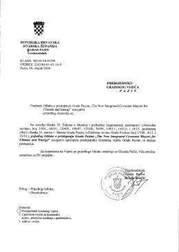 """Prijedlog Odluke o pristupanju Grada Pazina """"The New"""