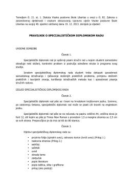 pravilnik o specijalističkom diplomskom radu