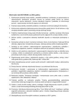 Okvirni plan rada EKO FORUM-a za 2016. godinu: 1. Kontinuirano