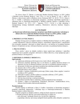 Tekst javnog poziva - Ministarstvo zdravstva Kantona Sarajevo