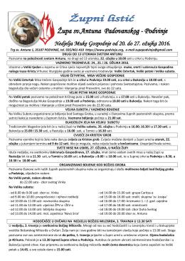 Podvinje Nedjelja Muke Gospodnje od 20. do 27. ožujka 2016.