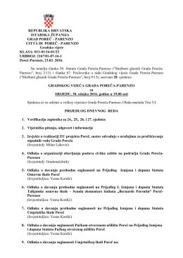 PARENZO Gradsko vijeće KLASA: 011-01/16-01