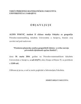 Odbrana II ciklus geografija Aldin Pokvić
