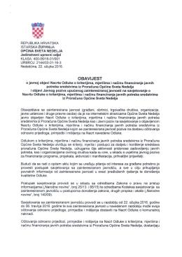Obavijest o javnoj objavi Nacrta Odluke o