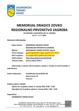memorijal dragice zovko regionalno prvenstvo zagreba