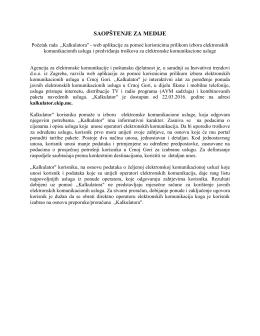 saopštenje za medije - Agencija za elektronske komunikacije i