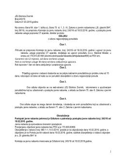 Odluka - JZU bolnica Zvornik