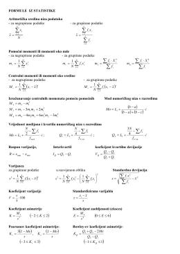 Formule i tablice iz statistike