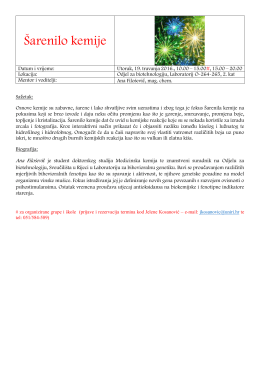 Šarenilo kemije - Odjel za biotehnologiju