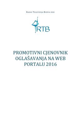 promotivni cjenovnik oglašavanja naweb portalu 2016