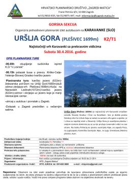 URŠLJA GORA (PLEŠIVEC 1699m) K2/T1 - HPD Zagreb