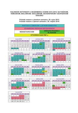 KALENDAR AKTIVNOSTI U AKADEMSKOJ GODINI 2015./2016. NA