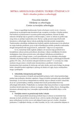 SRPSKA ARHEOLOGIJA IZMEĐU TEORIJE I Č̌INJENICA IV Kult i