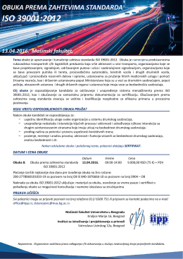 13.04.2016. Opšta obuka ISO 39001