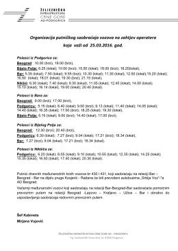 Red vožnje - Željeznička infrastruktura Crne Gore AD Podgorica