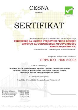sertifikat - Frigocomerc