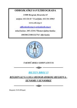 bilten 15 rl (Bilteni Regionalne lige)