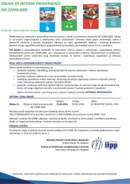 16.04.2016. Interne provere ISO 22000 / HACCP