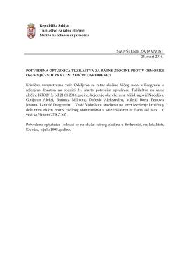 Republika Srbija Tužilaštvo za ratne zločine Služba za odnose sa