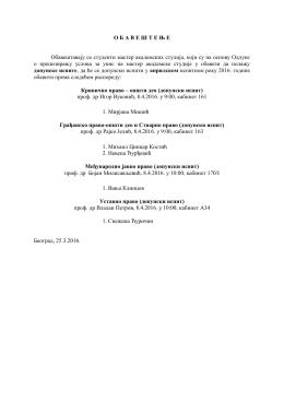 Raspored dopunskih ispita za aprilski ispitni rok