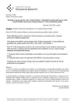 Naš broj: 1358/1 Datum: 24.03.2016. godine Komisija za javnu