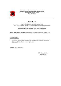 M E G H Í V Ó Magyarországi helyi önkormányzatairól szóló 2011