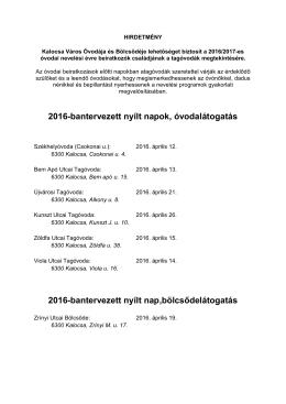 HIRDETMÉNY Nyílt napok 2016 - Kalocsa Város Óvodája és