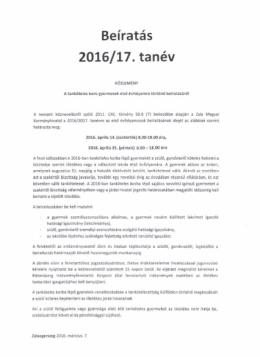 Befratas 2016/17. tanev