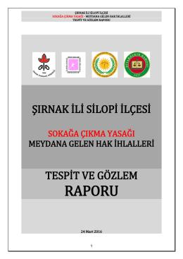 Silopi Raporu - İnsan Hakları Derneği Diyarbakır Şubesi