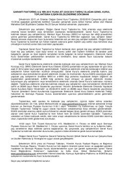 23/03/2016 tarihli 2015 yılı Olağan Genel Kurul