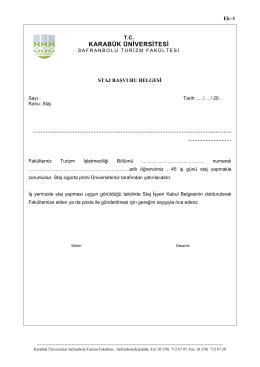 ek-1. staj başvuru belgesi - safranbolu turizm fakültesi