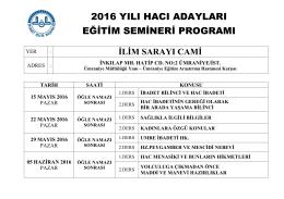2016 Yılı Hacı Adayları Eğitim Semineri Programı