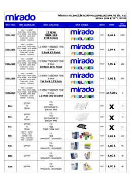 Fiyat Listesi - Mirado Kalemcilik Büro Malzemeleri San. ve Tic. A.Ş.