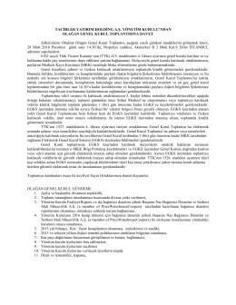 Tacirler Yatırım Holding A.Ş Davet Yazısı ve Vekaletname