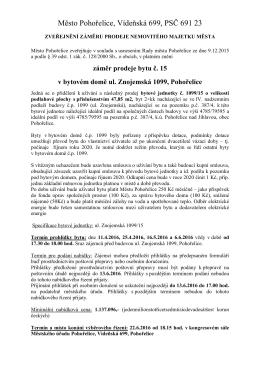 Zveřejnění záměru prodeje byt Znojemská 1099/15