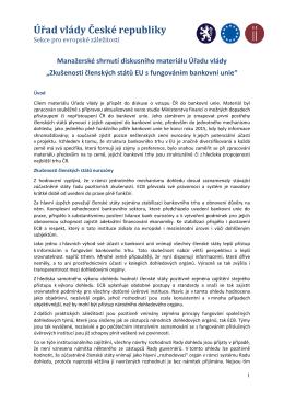 Manažerské shrnutí - Zkušenosti s fungováním bankovní unie