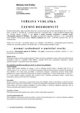 Metropolitní optická síť Mladkov - II. etapa