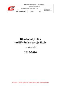 Dlouhodobý plán rozvoje školy 2012-16