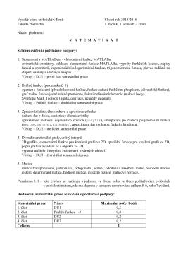 Vysoké učení technické v Brně Školní rok 2015