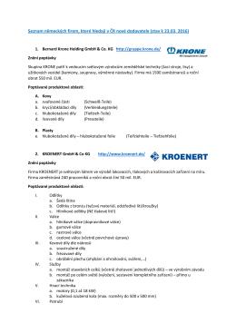 Seznam německých firem a poptávaných výrobků