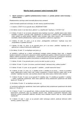 Návrhy usnesení valné hromady FINAL