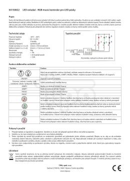 04150822 LED ovladač - RGB music kontroler pro LED pásky