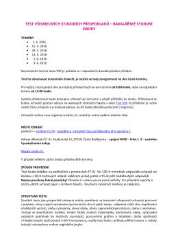 Důležité informace k testu VSP