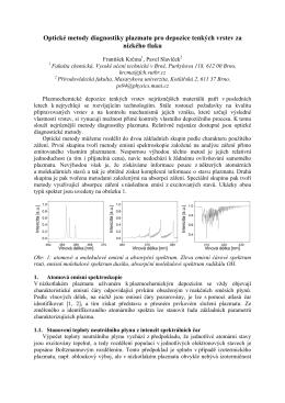 Optické metody diagnostiky plazmatu pro